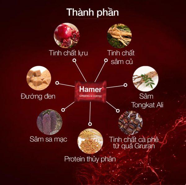 Thành phần và tác dụng kẹo sâm Hamer